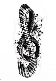 Piano keys and music notes