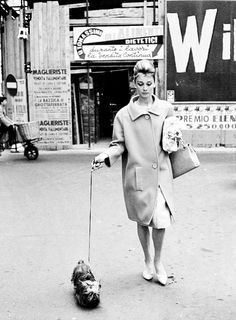 *Audrey Hepburn walking her dog in Rome, 1961.
