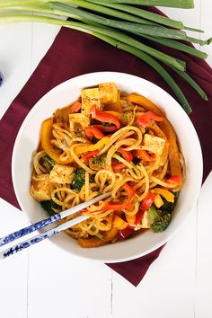 2.28.15- Vegetable and Tofu Coconut Red Curry Daikon Noodles...good, but sauce needed something...added sesame oil, lime juice and of course avocado!