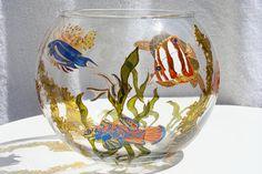 Hand Painted Glass Bowl Hideaway Beneath The by BlueJayArtStudio