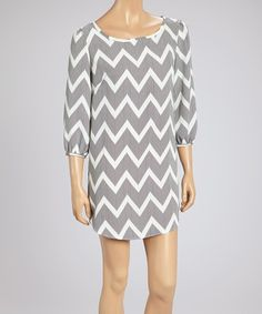 Take a look at this Black & Ivory Zigzag Bishop Sleeve Shift Dress on zulily today!