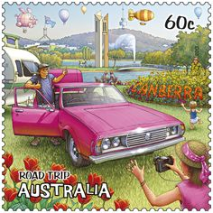 postage stamp from Australia - part of a series featuring an Australian road-trip - this one is the city of Canberra Postage Stamp Art, Penny Black, Vintage Travel Posters, Stamp Collecting, Australia Travel, Road Trip, Mail Art, History, Around The Worlds