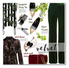 """""""09.08.16 #velvet"""" by shirleipatricia ❤ liked on Polyvore featuring Emilio Pucci, Roberto Cavalli, Yves Saint Laurent, Zara, Bobbi Brown Cosmetics and D&G"""