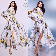 Ralph & Russo RTW Spring 2018 gown @ralphandrusso @blaancapadilla #handdrawn #sketch #ralphandrusso #rtw #spring #2018 #sketching #fashion #realvsdrawing #realvsart #art #worldofartists #copicmarkers #luxury #model #beatiful #blancapadilla #portrait #artist #nataliazorinliu #floral #shirtdress #dress #miniature #платье #рисунок #instafashion #follow #fashionista
