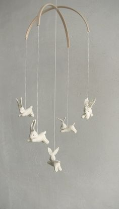 Baby crib mobile / bunnies mobile / rabbit mobile / JOYFUL SPRING / made to order. $109.00, via Etsy.