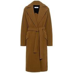 Iro - Nolane Long Wrap Coat (51,105 MKD) ❤ liked on Polyvore featuring outerwear, coats, long oversized coat, long brown overcoat, brown coat, brown overcoat and long overcoat