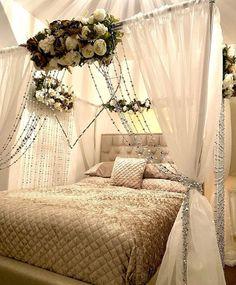 Canopy Bedroom, Bedroom Seating, Bedroom Decor, Wall Decor, Wedding Night Room Decorations, Desi Wedding Decor, Wedding Ideas, Awesome Beds, Cool Beds