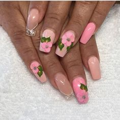 Acrylic nails with pink flower
