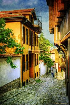 The Old Town area of Plovdiv, Bulgaria. This is a very beautiful town in Bulgaria, one of Europe's oldest cities with ancient history. As you can see they have preserved the old pre-Renaissance buildings and streets.