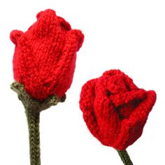 pattern: This knitted rose is based around a central bud. Petals are built up in alternating sets of two and three, then a stem is added. The finished rose contains a length of wire in the stem, and is therefore not suitable as a toy for children.