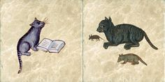 Two new medieval cat tiles.  All: http://williammorristile.com/medieval/bestiary.html