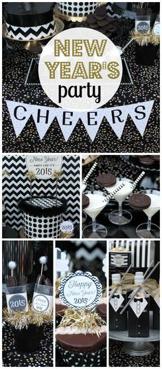 A black, white and gold teen friendly New Year's Eve party! See more party planning ideas at CatchMyParty.com!