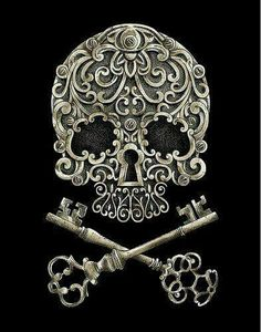 Keys & Locks: Skull #lock and #keys. (Tom) I like this one as it uses the keys as the bones in a classic skull and bones format while the nose of the skull is the lock which shows a unity between all aspects of the picture. IGNORE THE FLORAL STUFF                                                                                                                                                     More