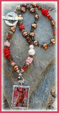 """You Can Leave Your Hat On!! Necklace... IN THE MIX Artisan-Crafted """"CowGirl"""" pendant... Chocolate Freshwater Pearls Smokey Quartz, Hessonite, Red Bamboo Coral Peruvian Rhodochrosite & some milky Rhodochrosite A tiny (3mm) Deep Pink Sapphire Thai Hilltribe & Turkish Silver accents Artisan-Crafted sterling Toggle - textured & oxidized Artisan-Crafted sterling bicone bead  SIZING IT UP  Necklace measures.......18.5 inches"""