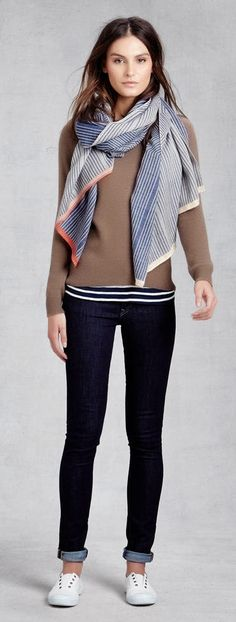 Keep warm!! Stylishly. A scarf makes a great accent to any outfit. Zady Cashmere Barca Sweater, Peace Treaty Scarf https://www.zady.com/products/54 #zady #holiday #fashion