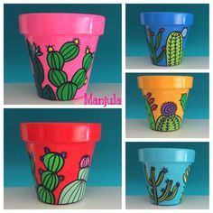 Ophelia – Cactus Pots – Famous Last Words Flower Pot Art, Flower Pot Crafts, Clay Pot Crafts, Cactus Flower, Flower Bookey, Flower Film, Terracotta Plant Pots, Painted Plant Pots, Painted Flower Pots