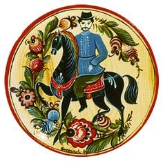 Folk Gorodets painting from Russia. A floral pattern with a horseman. #art #folk…