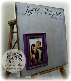 Wedding Guest Book Alternative Purple and Gray by thesugaredplums, $85.00