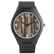 Modern Fashion Ebony Wooden Watch Men Ladies Wood Lines Pattern Dial Genuine Leather Strap Hand-made Cost-effective Watches Gift(China)