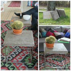 sofabord lavet af stålstativ og betonflise fra haven