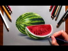 Drawing watermelon with colored pencils | Jasmina Susak How to Draw Nature Realistic 3D Object - YouTube