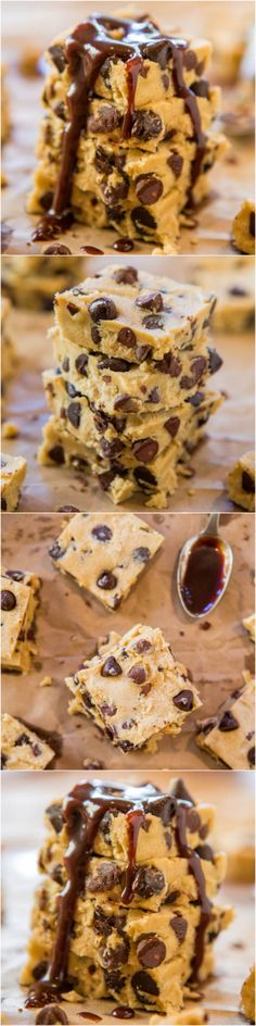 Raw Chocolate Chip Cookie Dough Bars with Hot Fudge (vegan) - Safe-to-eat raw cookie dough that's every bit as good & satisfying as the real thing! Easy, no-bake recipe at averiecooks.com