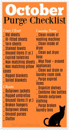 Free printable Fall cleaning checklist for October is here! Focus on just a few . , Free printable Fall cleaning checklist for October is here! Focus on just a few areas at a time so you don't get overwhelmed and purge your house clean.