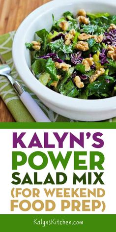 Kalyn's Power Salad Mix is something I eat regularly for a meatless meal and having a salad mix like this in the fridge can really help you eat more vegetables! Salad Recipes Low Carb, Meatless Recipes, Delicious Vegan Recipes, Tasty, Healthy Recipes, Power Salad, Vegetarian Cabbage, Keto Friendly Desserts, Salad Dressing Recipes