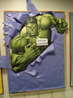 SRC 2015 Library Displays for Superheroes --Hulk need books now!
