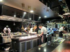 I do like the lighting solution Restaurant Kitchen Equipment, Restaurant Kitchen Design, Restaurant Layout, Restaurant Concept, Restaurant Bar, Cloud Kitchen, Big Kitchen, Kitchen Layout, Commercial Kitchen Design