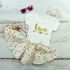 2nd Birthday Outfit with Twirl Skirt  Gold Two by OliveLovesApple