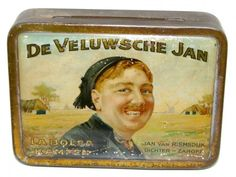 "A Great Dutch historical tobacco tin, representing a Famous local Poet and Singer ""Veluwse Jan"" the tin is made by Sigarenfabriek La Bolsa vh C.J. Boele, Kampen, welknown for many other great designed tobacco tin, in my collection"