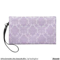 silver,lavender,chic,damasks,floral,lace,pattern,v wristlet purse