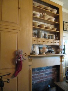 Nice built-in shelves over fireplace