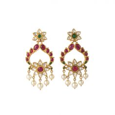 The Two Flower Earrings (Gold) - Arnav - Jewellery from the Heart Gold Jewelry For Sale, Jewelry Sets, Jewelry Accessories, Jewelry Making, Traditional Earrings, Jewellery Sketches, Gold Jewellery Design, Temple Jewellery, Pendant Set