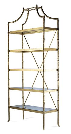 I'm dreaming of . Highland House Furniture: - Golden Regency Metal Bamboo Etagere No, seriously. Gold bamboo ANYTHING! Furniture Decor, Furniture Design, Bamboo Furniture, Beach Furniture, Furniture Removal, Gold Etagere, Home Interior, Interior Design, Highland Homes