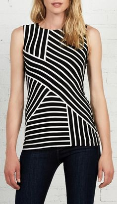 Bailey 44 -- Controlled Chaos top. Signature stripes on a sleeveless rayon/spandex top. Add loads of interest to layering. US made.