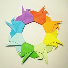 February 9th 2015 Origami crane wreath/mandala I made today.  #origami #crane #tsuru #wreath #mandala #paper #folding #rainbow #color #diy #craft #40