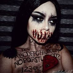 Ouija Speaktress #SFX mouth inspired by @mykie_ @mehronmakeup Paradise Paints @spirithalloween Liquid Latex and Scab Blood I have done two #Ouija board looks previously, but never recorded them for a tutorial! This look will be up sometime this month on my YouTube channel for #Horrorween #OuijaBoard #ouijaboardmakeup #Ouijamakeup #halloween #halloweenmakeup #halloweeninspiration #halloweenmakeupideas #mehronmakeup #31daysofmehronhalloween #sfxmakeup #specialeffectsmakeup #gorema...