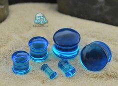 Glass double flare solid color plugs (Ocean blue)
