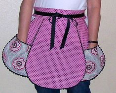 Vintage Inspired Pink and Black Half Apron-Retro Kitchen Apron-One Size on Etsy, $22.00
