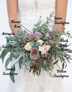 "Our new 2019 ""Crazy in Love"" Collection! Featuring mauve roses, ivory roses, astrantia, blush spray roses, gunni eucalyptus, seeded eucalyptus, and willow eucalyptus. Easy. Affordable. Gorgeous.   www.kukkaflowers.com   #floralbreakdown #diy #diyweddingflowers #bridalbouquet #lavenderwedding #ivorywedding #mauveandivory #dustywedding #eucalyptus #blushwedding"