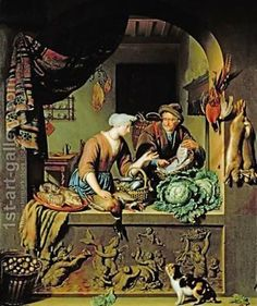 Willem van Mieris (1662-1747). A Woman and a Fish Peddler, 1713