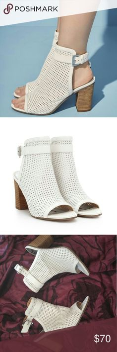 Sam eldelman peep-toe booties This peep-toe bootie features a sleek block 4inch heel, cool laser-cute leather and an adjustable ankle strap for modern, minimal chic look. No trades. Sam Edelman Shoes Ankle Boots & Booties