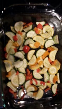 Healthy Veggie Side Dish Zukkini, squash, sweet pepper, and olive oil cooked at 350