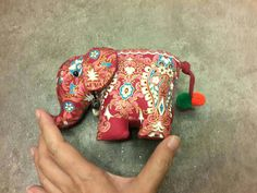 Thai elephant doll made from cotton with traditional Thai style. Ssize 17 cm+tail 10 cm .... For more details : https://www.etsy.com/shop/SiamArtisan