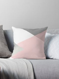 Geometric triangle design in grey, white and blush pink tones with silver foil. Chic, trendy, modern and minimalist. • Also buy this artwork on home decor, apparel, stickers, and more.