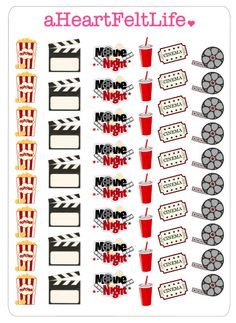 Movie Night Stickers  Add a little fun and creativity to your life with these stickers! Perfect for use in planners or scrapbooking.  -This