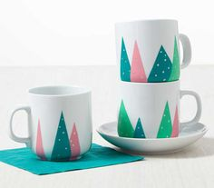 Craft Painting - Fanciful Forest Coffee Mugs for the December Martha Stewart Crafts Mad About Color - click to find the instructions to make this project.