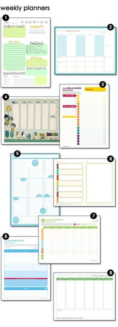 Loads of free weekly planners, menu planners, cleaning checklists and blog planners!